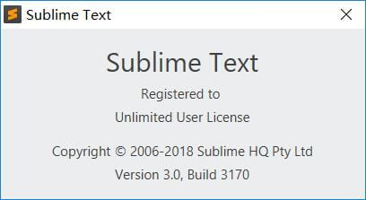 sublime text 3 Build 3170最近注册可用版
